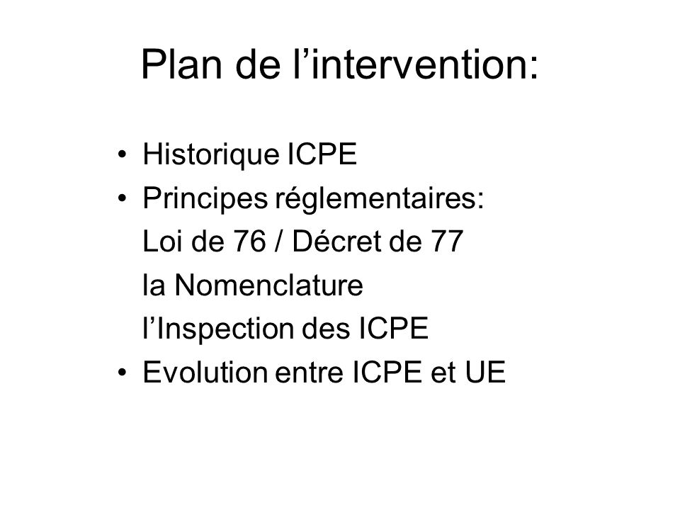 Plan de l'intervention: