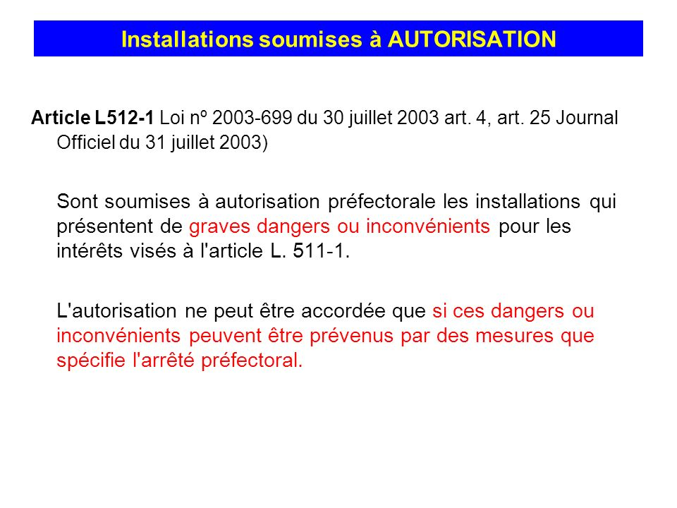 Installations soumises à AUTORISATION