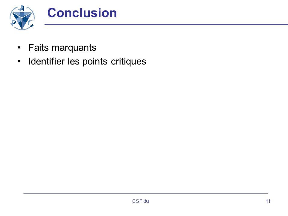 Conclusion Faits marquants Identifier les points critiques CSP du
