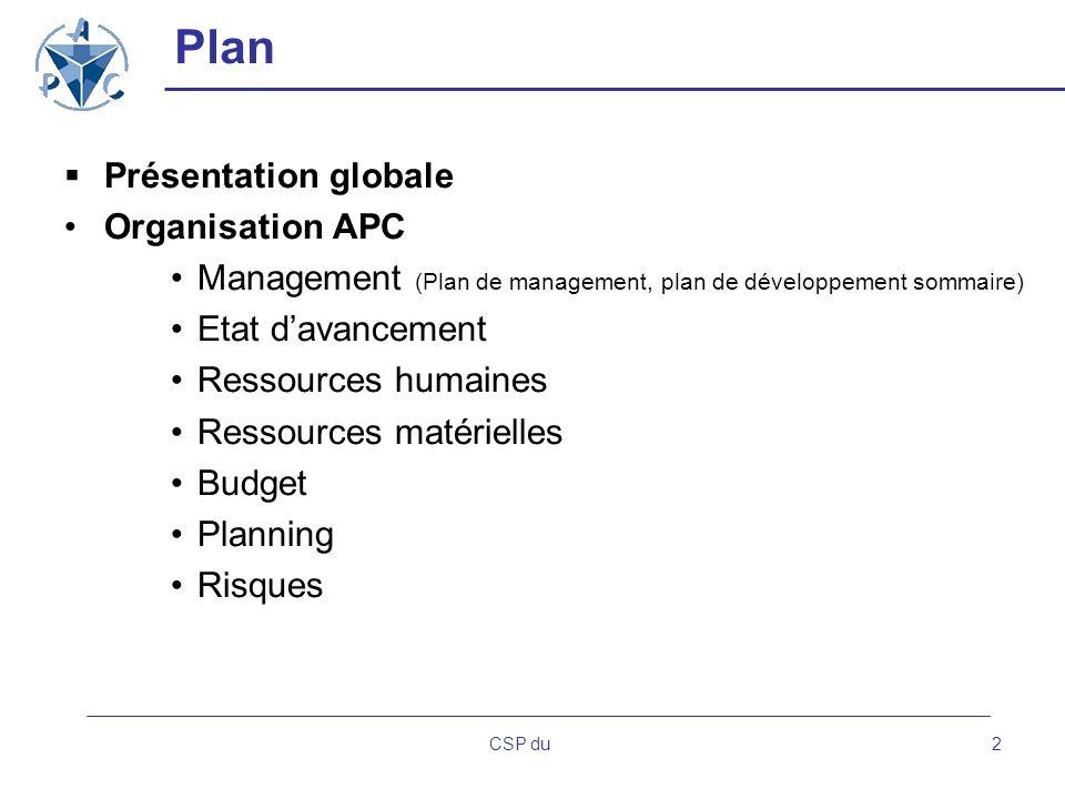 Plan Présentation globale Organisation APC