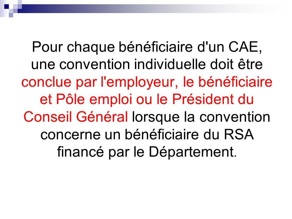Pour chaque bénéficiaire d un CAE, une convention individuelle doit être conclue par l employeur, le bénéficiaire et Pôle emploi ou le Président du Conseil Général lorsque la convention concerne un bénéficiaire du RSA financé par le Département.