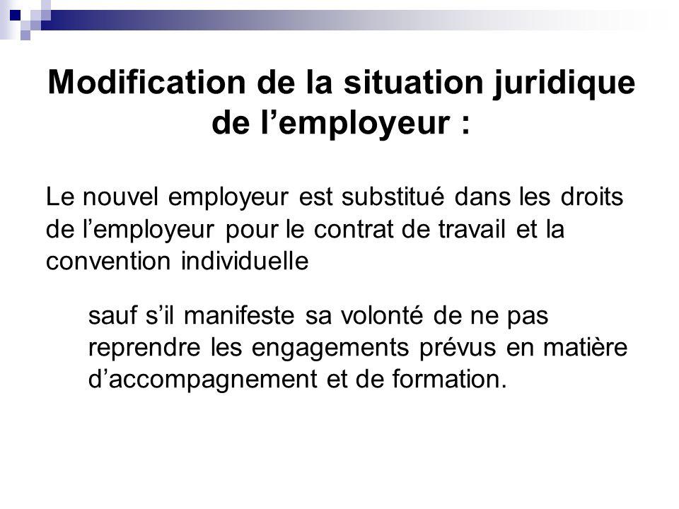 Modification de la situation juridique de l'employeur :