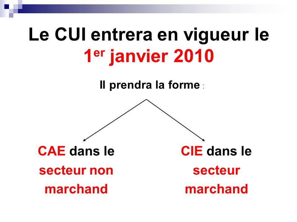 Le CUI entrera en vigueur le 1er janvier 2010