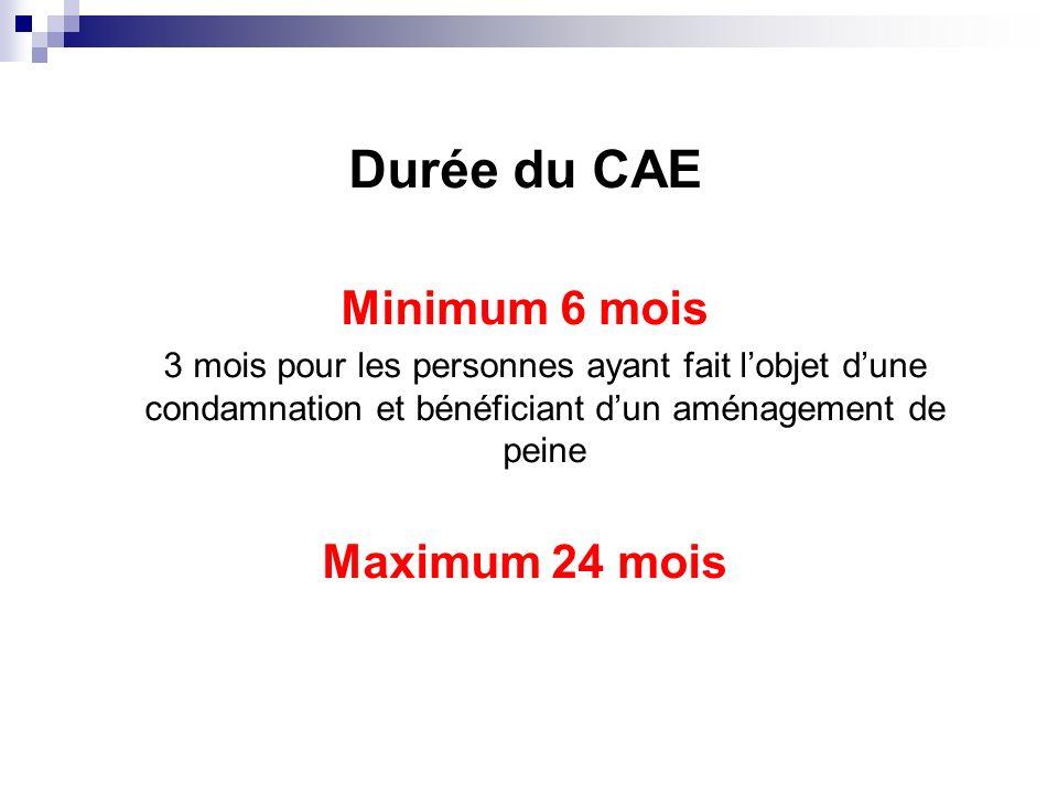 Durée du CAE Minimum 6 mois Maximum 24 mois