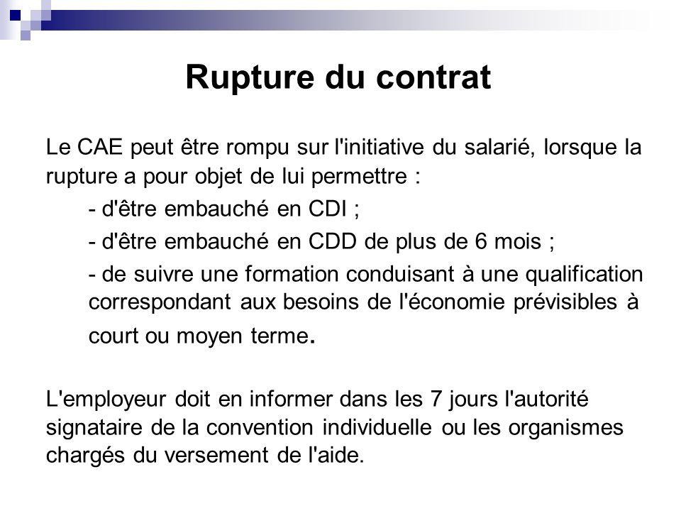 Rupture du contrat Le CAE peut être rompu sur l initiative du salarié, lorsque la rupture a pour objet de lui permettre :