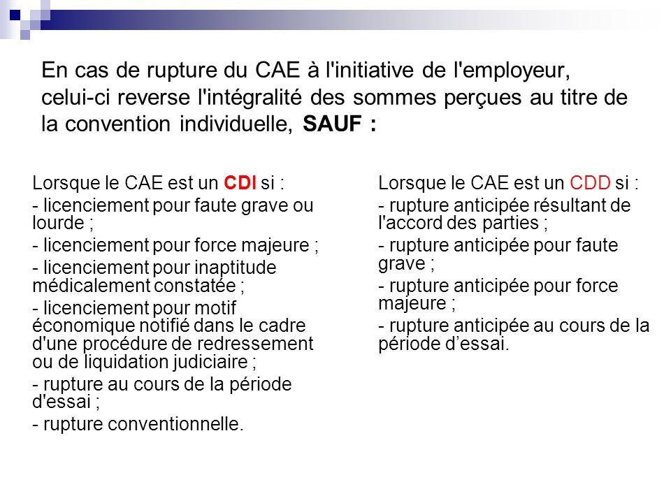 En cas de rupture du CAE à l initiative de l employeur, celui-ci reverse l intégralité des sommes perçues au titre de la convention individuelle, SAUF :