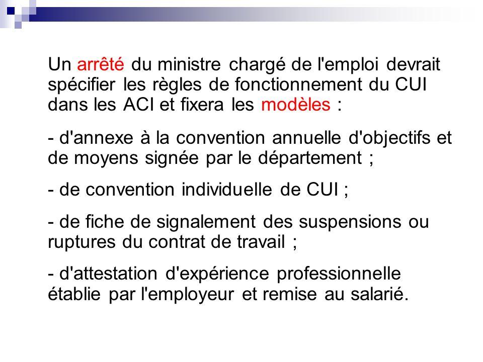 Un arrêté du ministre chargé de l emploi devrait spécifier les règles de fonctionnement du CUI dans les ACI et fixera les modèles :