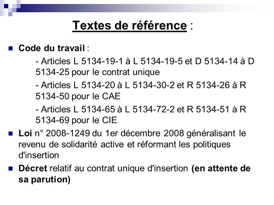 Textes de référence : Code du travail :