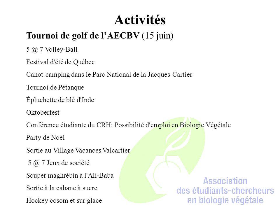 Activités Tournoi de golf de l'AECBV (15 juin) 5 @ 7 Volley-Ball