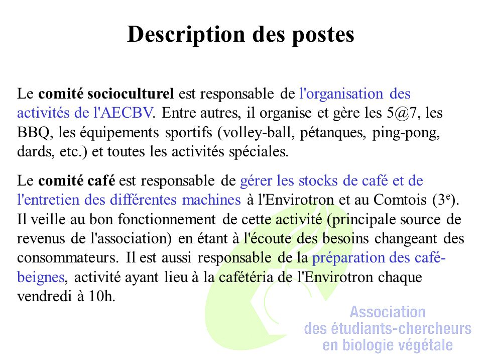 Description des postes