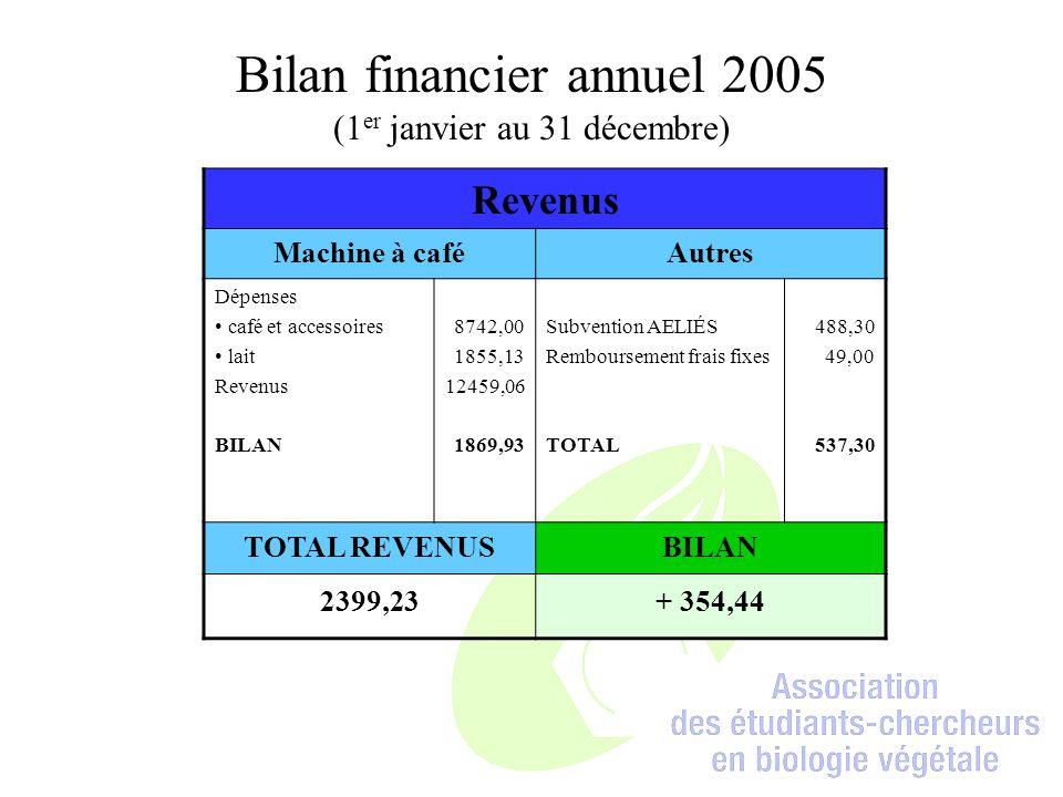 Bilan financier annuel 2005 (1er janvier au 31 décembre)