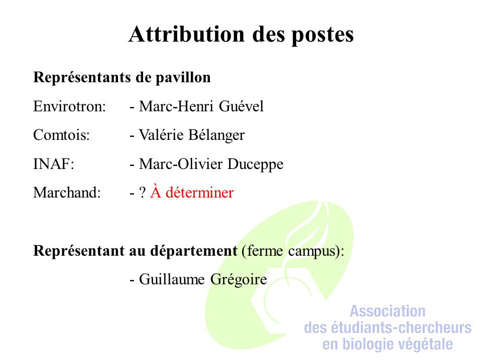 Attribution des postes