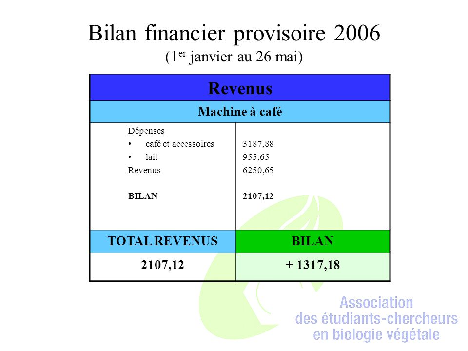 Bilan financier provisoire 2006 (1er janvier au 26 mai)