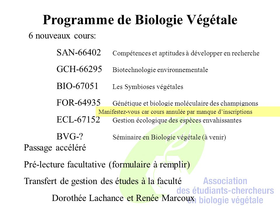 Programme de Biologie Végétale