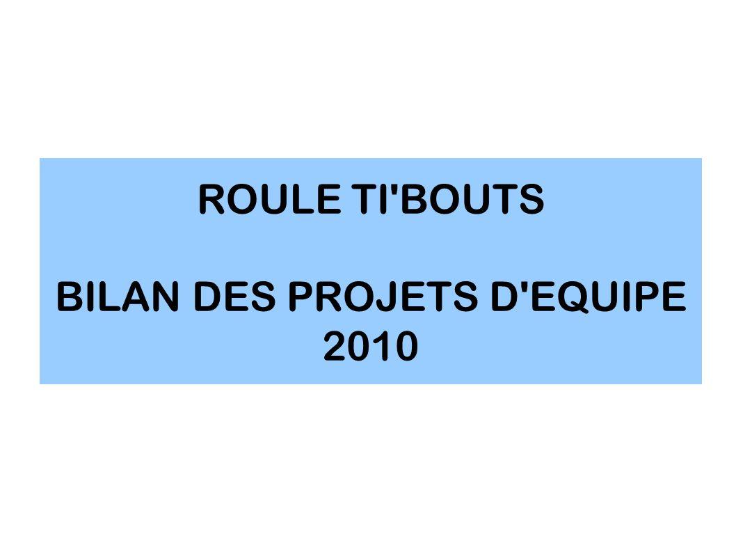 ROULE TI BOUTS BILAN DES PROJETS D EQUIPE 2010