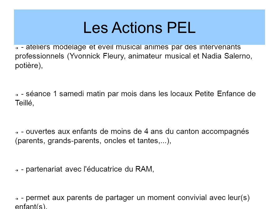 Les Actions PEL Animations parents-enfants: