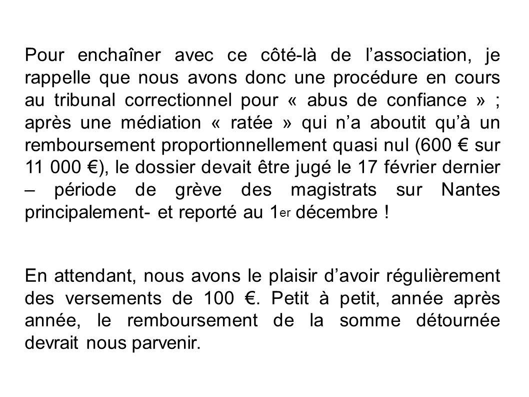 Pour enchaîner avec ce côté-là de l'association, je rappelle que nous avons donc une procédure en cours au tribunal correctionnel pour « abus de confiance » ; après une médiation « ratée » qui n'a aboutit qu'à un remboursement proportionnellement quasi nul (600 € sur 11 000 €), le dossier devait être jugé le 17 février dernier – période de grève des magistrats sur Nantes principalement- et reporté au 1er décembre !