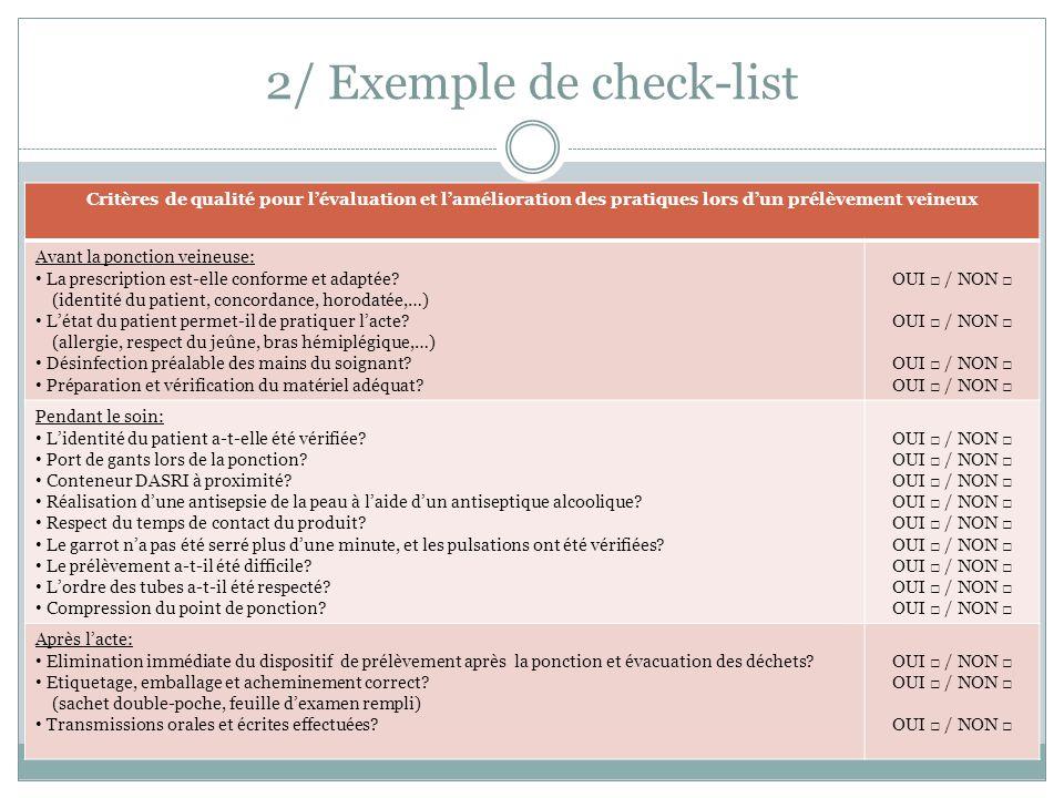 2/ Exemple de check-list