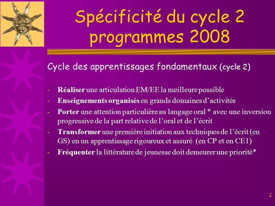 Spécificité du cycle 2 programmes 2008