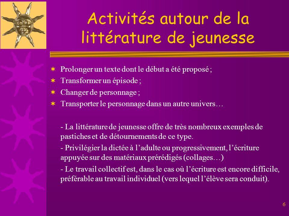 Activités autour de la littérature de jeunesse