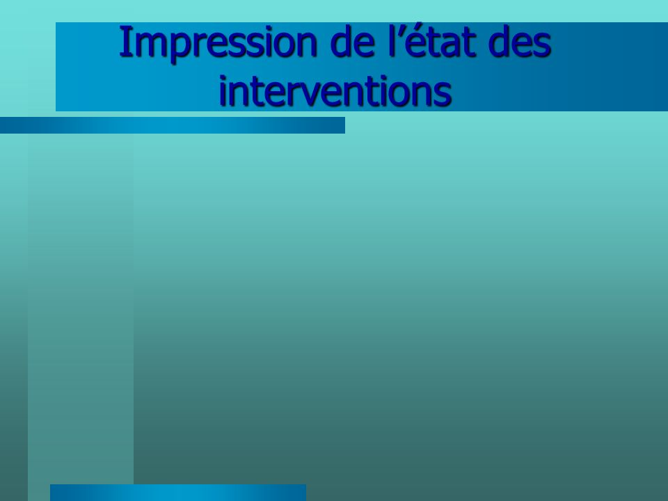Impression de l'état des interventions