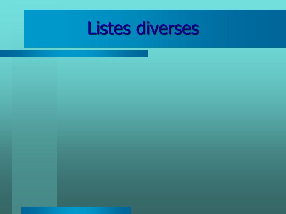 Listes diverses