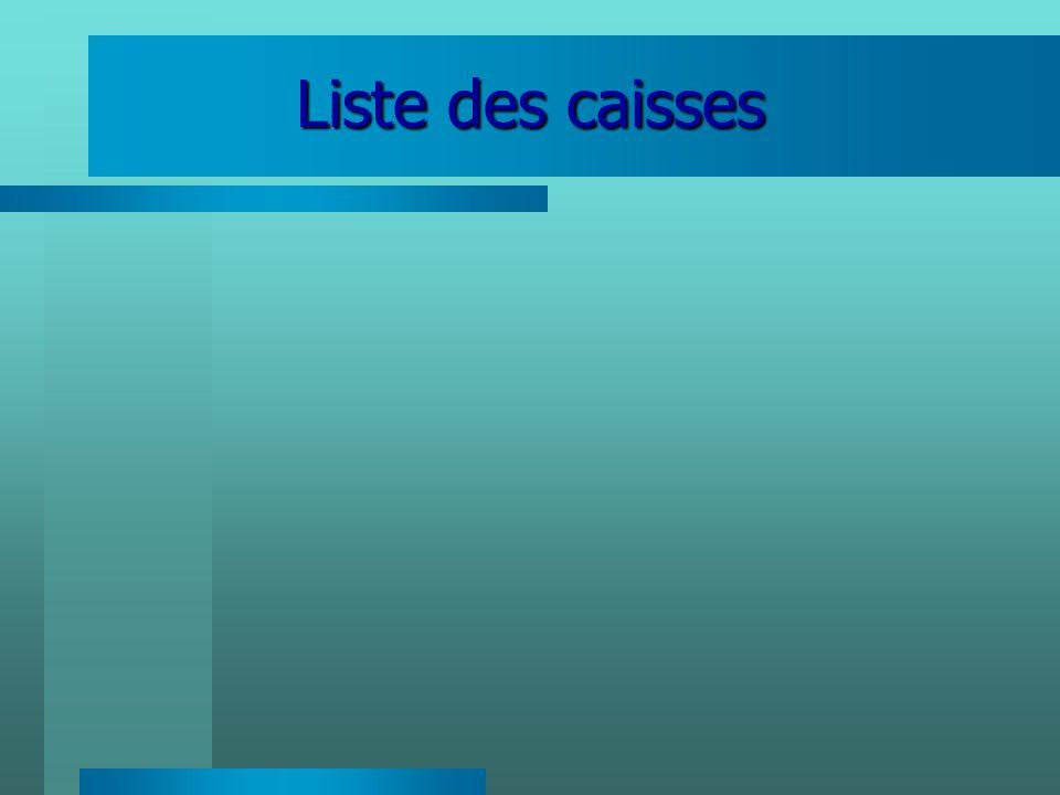 Liste des caisses