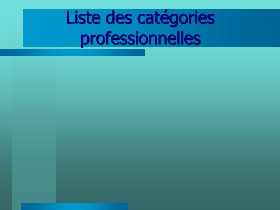 Liste des catégories professionnelles