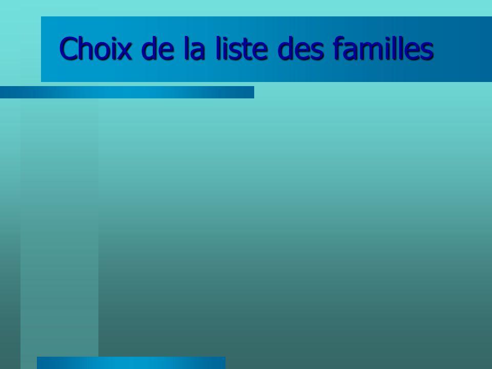 Choix de la liste des familles
