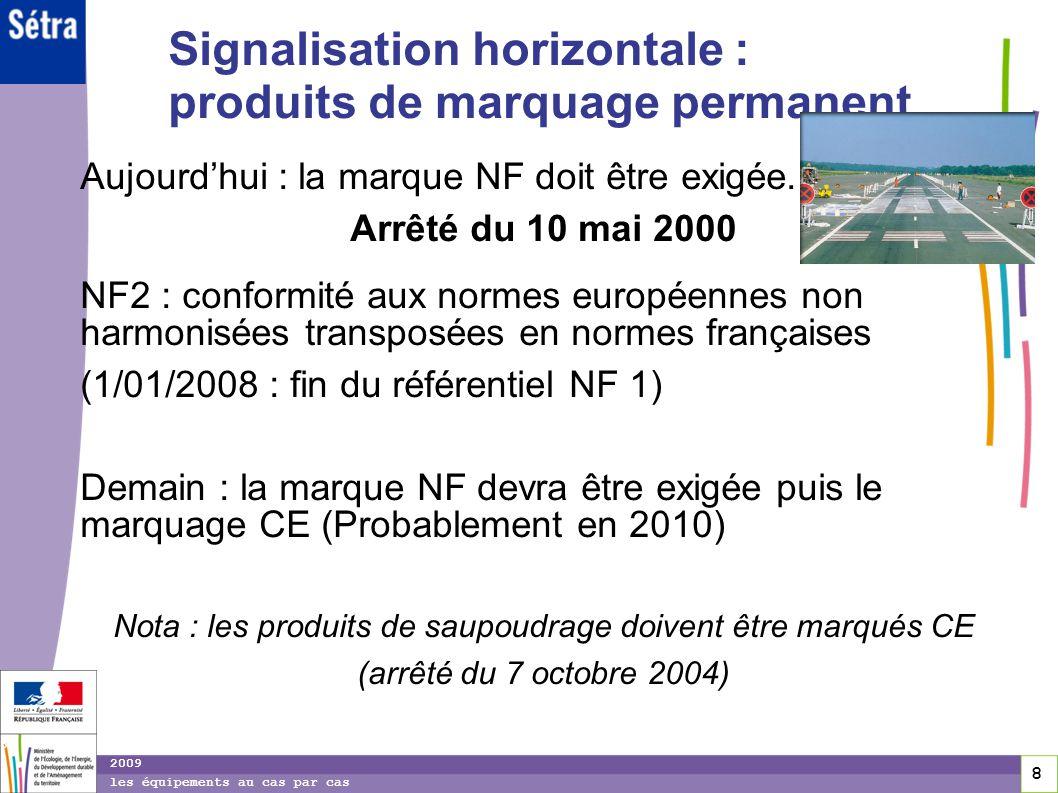 Signalisation horizontale : produits de marquage permanent