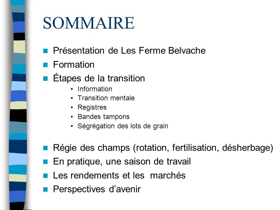 SOMMAIRE Présentation de Les Ferme Belvache Formation