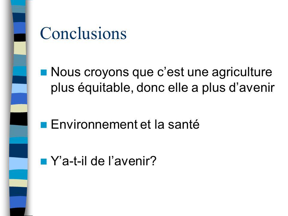 Conclusions Nous croyons que c'est une agriculture plus équitable, donc elle a plus d'avenir. Environnement et la santé.