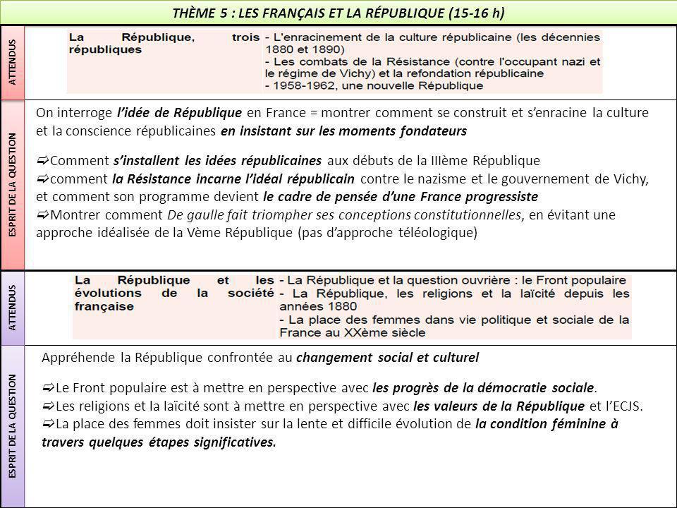 THÈME 5 : LES FRANÇAIS ET LA RÉPUBLIQUE (15-16 h)