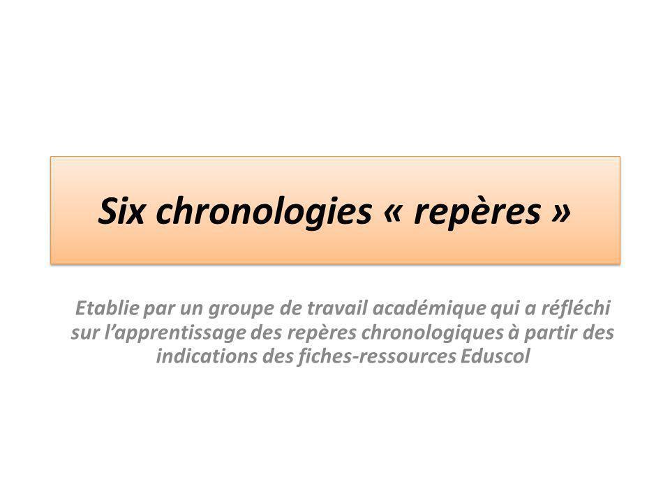 Six chronologies « repères »