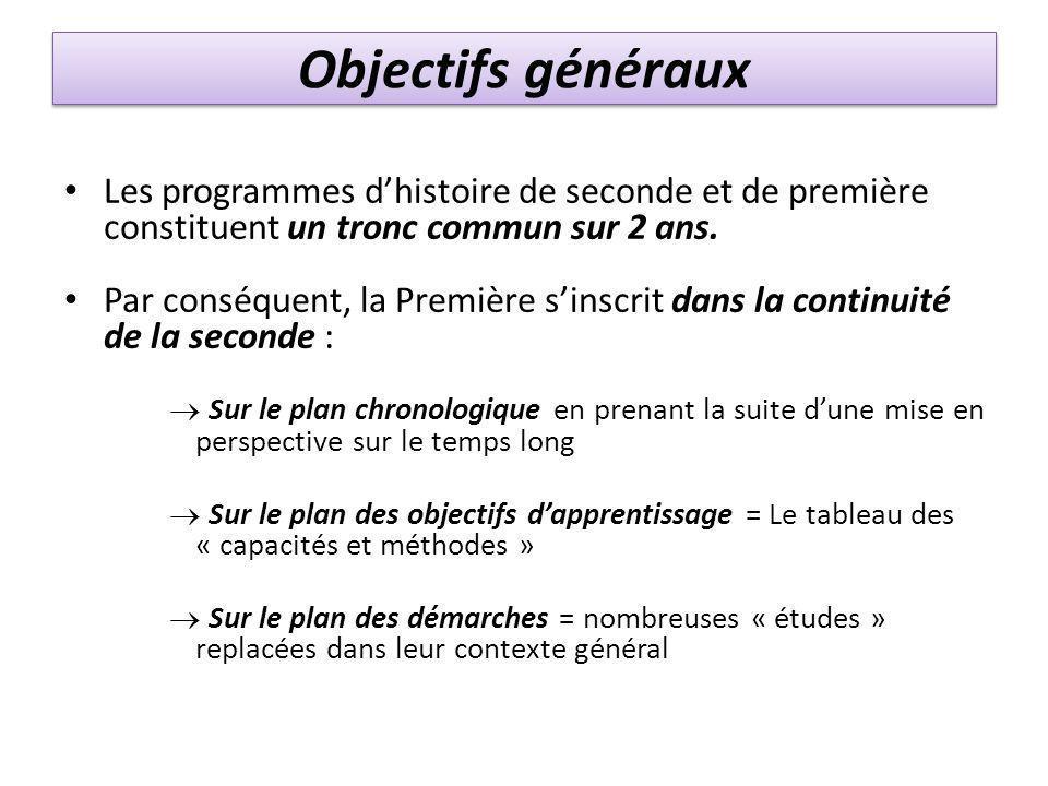 Objectifs généraux Les programmes d'histoire de seconde et de première constituent un tronc commun sur 2 ans.