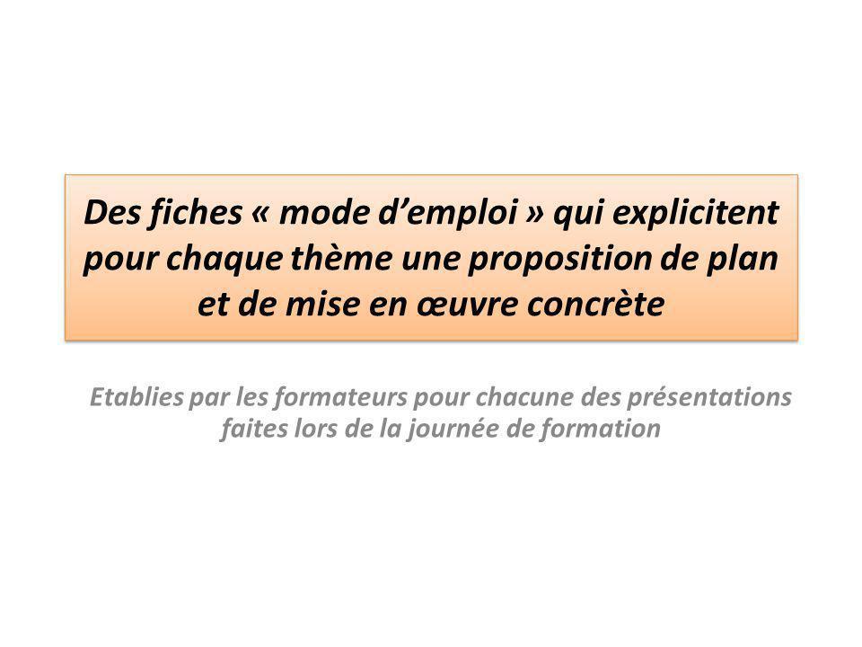 Des fiches « mode d'emploi » qui explicitent pour chaque thème une proposition de plan et de mise en œuvre concrète