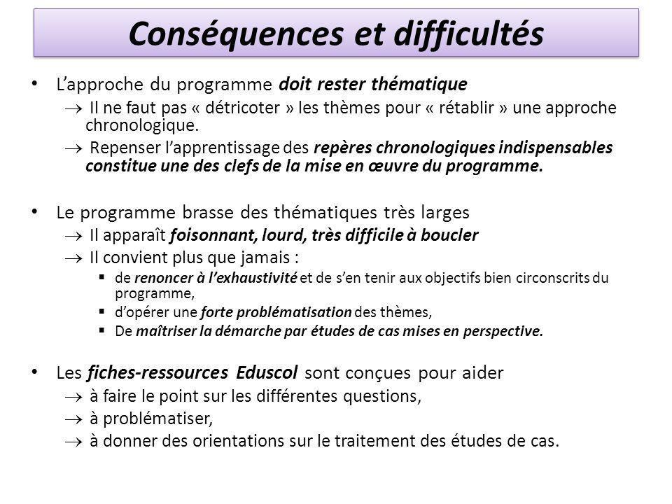 Conséquences et difficultés