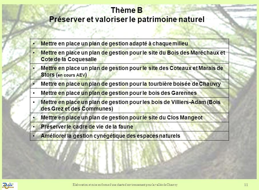 Thème B Préserver et valoriser le patrimoine naturel