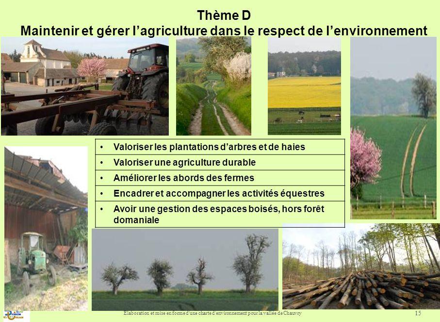 Thème D Maintenir et gérer l'agriculture dans le respect de l'environnement