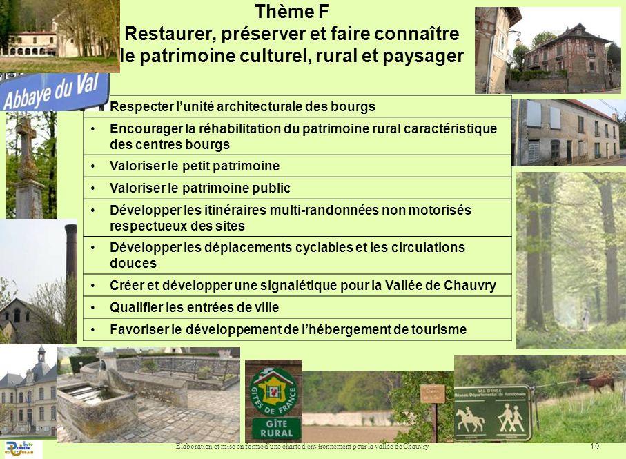 Thème F Restaurer, préserver et faire connaître le patrimoine culturel, rural et paysager