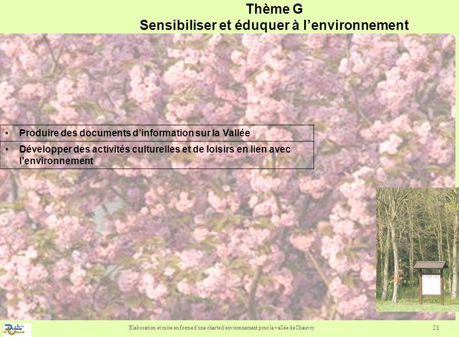 Thème G Sensibiliser et éduquer à l'environnement