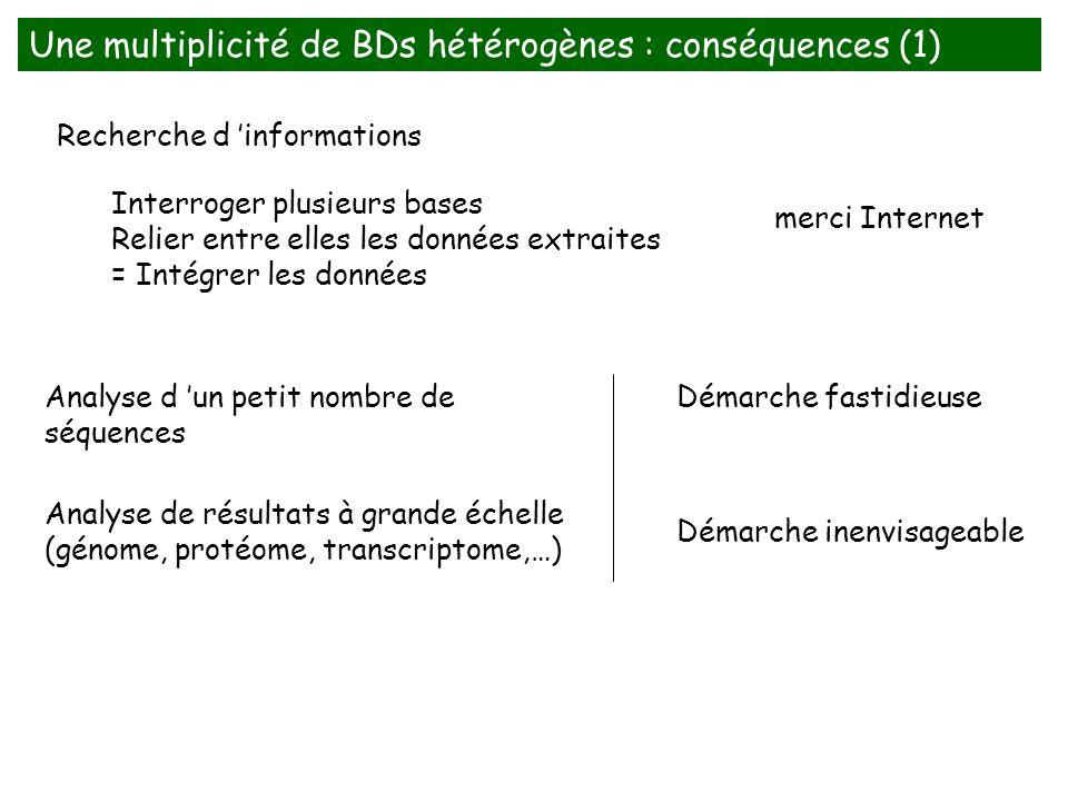 Une multiplicité de BDs hétérogènes : conséquences (1)