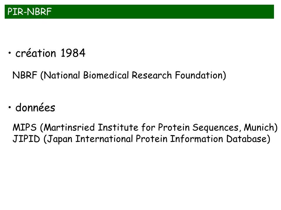 création 1984 données PIR-NBRF