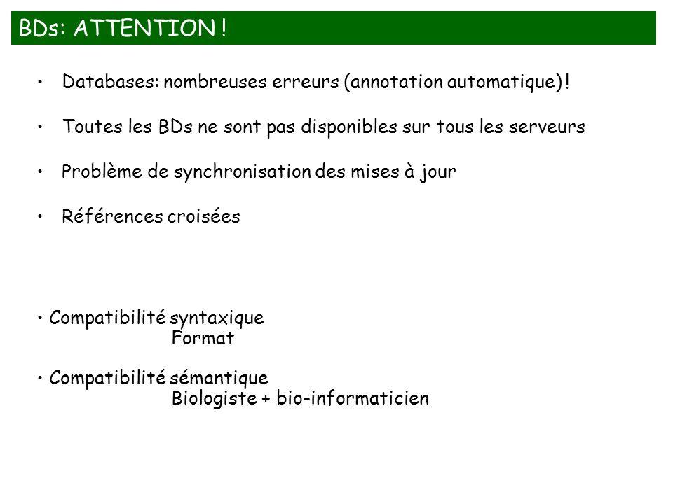 BDs: ATTENTION ! Databases: nombreuses erreurs (annotation automatique) ! Toutes les BDs ne sont pas disponibles sur tous les serveurs.