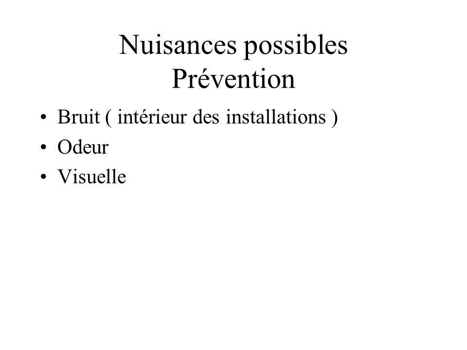 Nuisances possibles Prévention