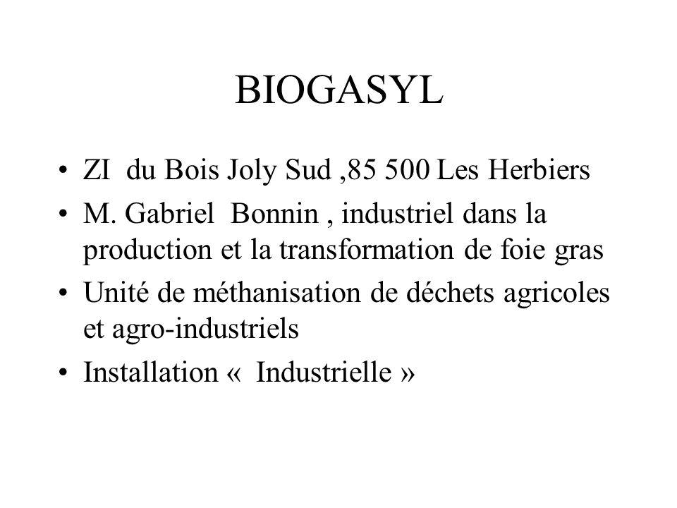BIOGASYL ZI du Bois Joly Sud ,85 500 Les Herbiers