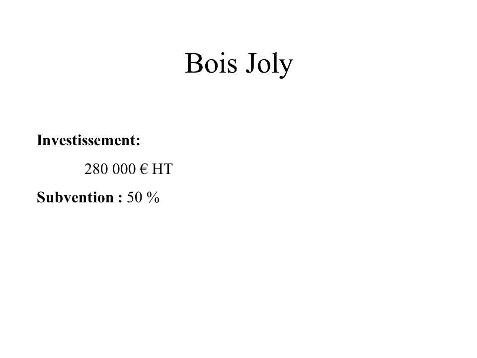 Bois Joly Investissement: 280 000 € HT Subvention : 50 %
