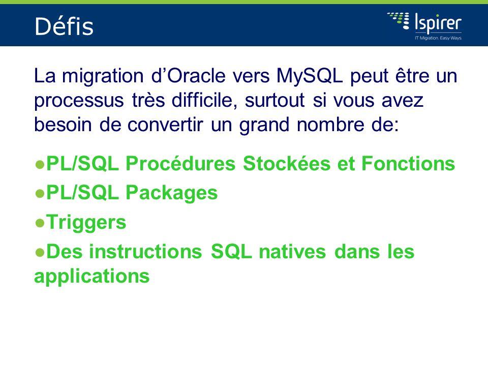 Défis La migration d'Oracle vers MySQL peut être un processus très difficile, surtout si vous avez besoin de convertir un grand nombre de: