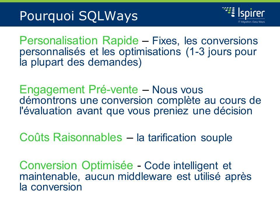Pourquoi SQLWays Personalisation Rapide – Fixes, les conversions personnalisés et les optimisations (1-3 jours pour la plupart des demandes)