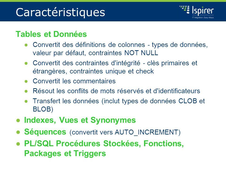 Caractéristiques Tables et Données Indexes, Vues et Synonymes